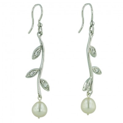 Sterling Silver Earring 7mm White Fresh Water Pearl with 3 Clear Cubic Zirconia Leaves on Stem Dan