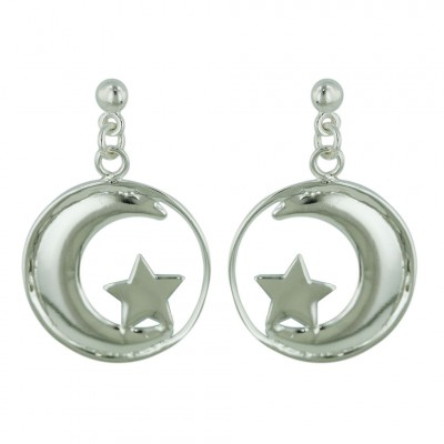 Sterling Silver Earrings Cresent Moon with Star in Circle Dangle