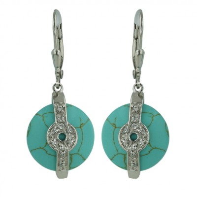 Sterling Silver Earring 15mm Round Faux Turquoise with Clear Cubic Zirconia Circle