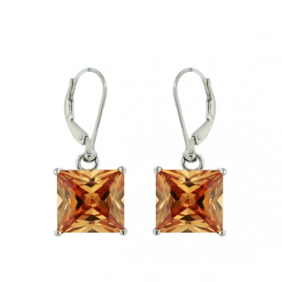 Sterling Silver Earring 10X10mm Square Champagne Cubic Zirconia with Levelback