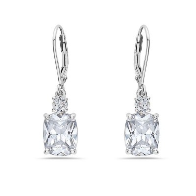 Sterling Silver Earring 3mm Top+10X8mm Oval Clear Cubic Zirconia with Levelback