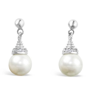 Sterling Silver Earring 10mm White Faux Pearl with Clear Cubic Zirconia