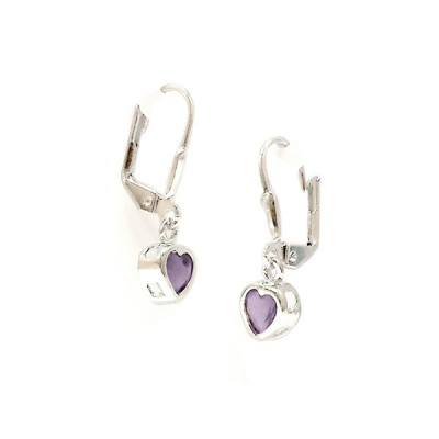 Sterling Silver Earring 5X5mm Ame Cubic Zirconia Heart Bezel with Levelback--Rhodium Plating