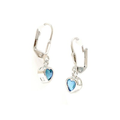 Sterling Silver Earring 5X5mm Aqua Marine Glass Heart Bezel with Levelback--