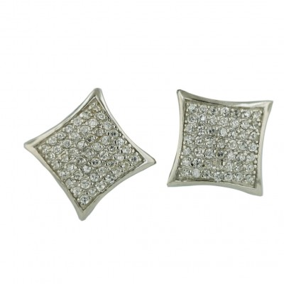Sterling Silver Earring Squeeze in 13X13mm (Puff) Square Pave Clear Cubic Zirconia