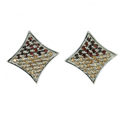 Sterling Silver Earring Squeeze in 13X13mm (Flat) Square Pave Garnet /Champagne C