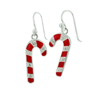 Sterling Silver Earring Rd Candy Cane with Clear Cubic Zirconia