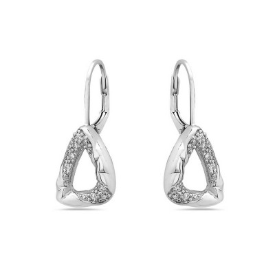 Sterling Silver Earring Twisted Open Triangle Plain+Clear Cubic Zirconia with Stif