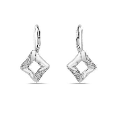 Sterling Silver Earring Twisted Open Square Plain+Clear Cubic Zirconia with Stiff Lev