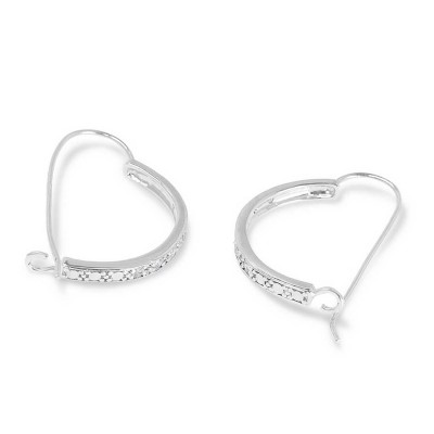 Sterling Silver Earring (H=25mm) Outer Clear Cubic Zirconia 'C' Curve Fish Hook