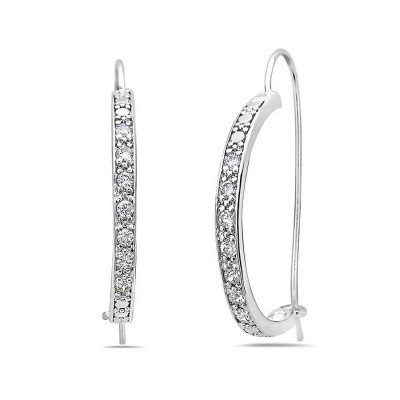 Sterling Silver Earring (H=28mm) Outer Clear Cubic Zirconia 'C' Curve Fish Hook
