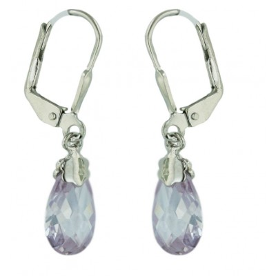 Sterling Silver Earring Chess Cut Tear Drop Lv Cubic Zirconia with Levelback