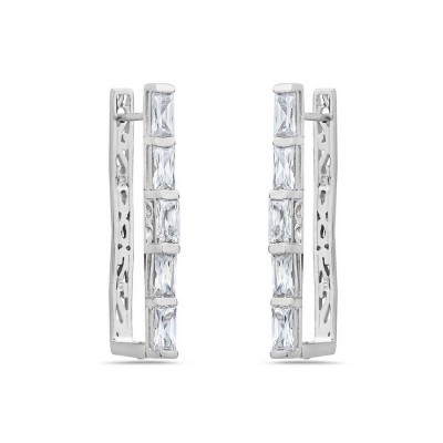 Sterling Silver Earring Clear Cubic Zirconia Princess Cut Rectangular U Shape