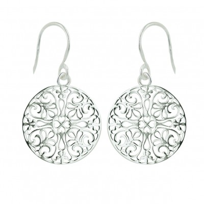 Sterling Silver Earring 19mm Open Plain Round Filigree with Fish Hook