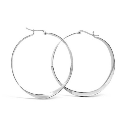Sterling Silver Earring 50mm Plain Twisted Latch Hoop --E-coated/Nickle Free--