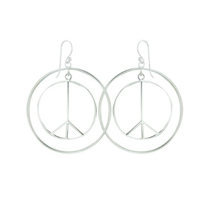 Sterling Silver Earring 40mm Plain Peace Symbol with Fish Wire Ball