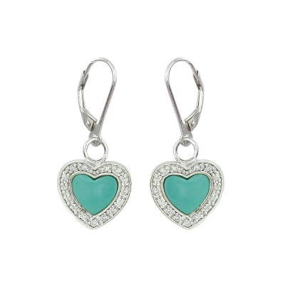 Sterling Silver Earring 13.5mm Faux Turquoise Heart with Cl+Lever Back