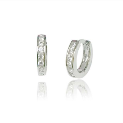 Sterling Silver Earring 11 mm Outer Diameter Clear Cubic Zirconia Huggies