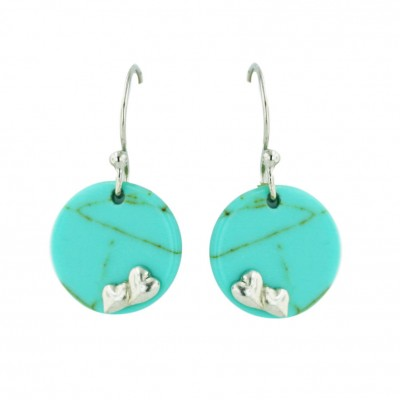 Sterling Silver 15mm Round Faux Turquoise with Plain Heart+Fish Hook