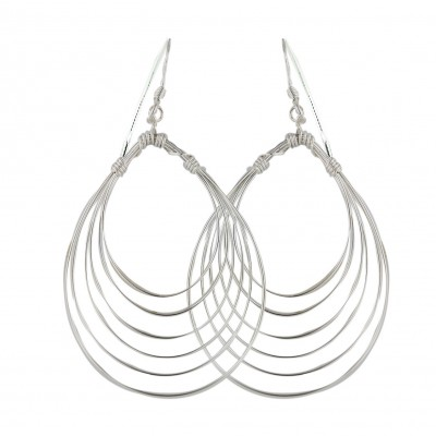 Sterling Silver Earring Plain 8 Layered Circled Lines with Fish Hook-