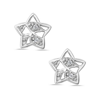 Sterling Silver Earring Plain Open Star with Clear Cubic Zirconia Triangle--Rhodium Plating/Nickle Free-
