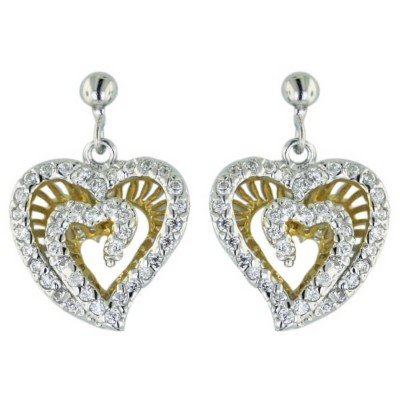 Sterling Silver Earring 2 Tone Gold Clear Cubic Zirconia 2 Layer Open Heart