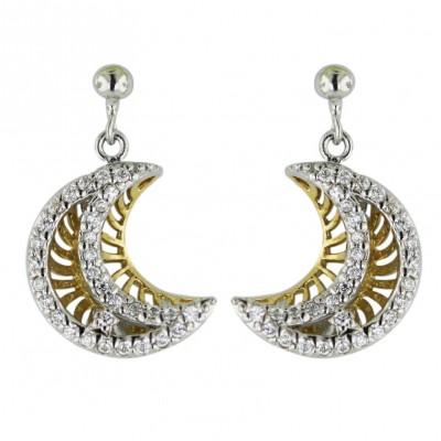 Sterling Silver Earring 2 Tone Gold Clear Cubic Zirconia Open Moon--Rhodium Plating/Nickle Free--