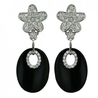 Sterling Silver Earring 24X18mm Onyx Oval with Clear Cubic Zirconia Flower Top