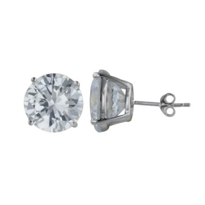 Sterling Silver Earring 12mm Clear Cubic Zirconia Round Stud