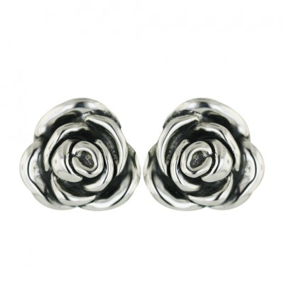Sterling Silver Earring Plain 22mm Rose with Oxidized Inner Petals--
