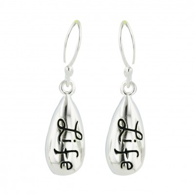 """Sterling Silver Earring Plain Tear Drop with Oxidized Word """"Life""""--E-coated/N"""
