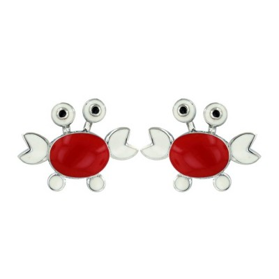 Sterling Silver Earring Red+White Enamel Crab with Black Eyes