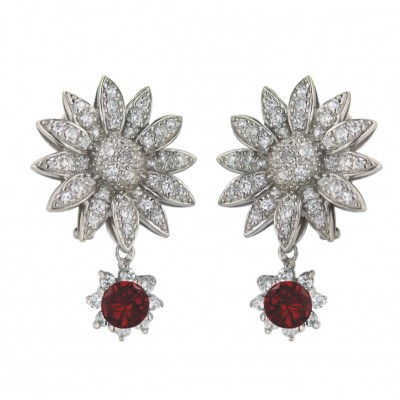 Sterling Silver Earring 6mm Garnet Cubic Zirconia Round with Clear Cubic Zirconia Sunflwr+Omega Back