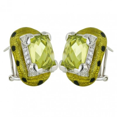 Sterling Silver Earring Rectangular Light Olvine Cubic Zirconia with Yellow+Black Dot Epoxy