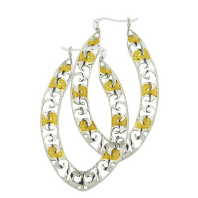 Sterling Silver Earring 46X28mm 2 Tone Gold Plain Open Marquis Lat