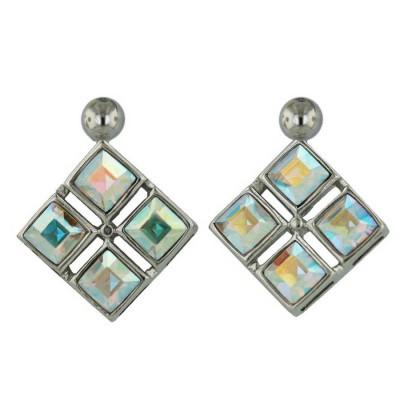 Sterling Silver Earring 4 Pc AB color Cyrstal Czech Crystal Rhombus Princess Cut