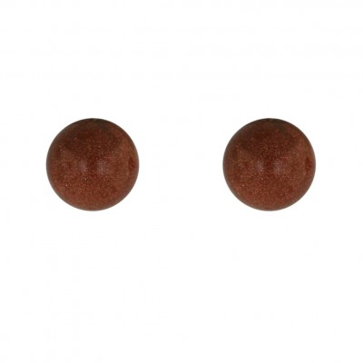 Sterling Silver Earring 8mm Gold Sand Ball Stud
