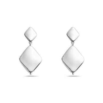 Sterling Silver Earring 22X18mm+13X10mm Plain Rhombus--Sp Forming