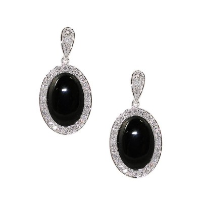 Sterling Silver Earring Oval Onyx with Clear Cubic Zirconia Outline