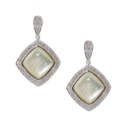 Sterling Silver Earring Mother of Pearl Rhombus Clear Cubic Zirconia Outlin