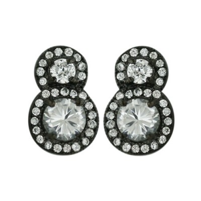Sterling Silver Earring Double 5+3mm Micropave Round Clear Cubic Zirconia with Black