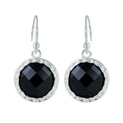 Sterling Silver Earring 13mm Black Cubic Zirconia Round Chess Cut Hammerred Aroun