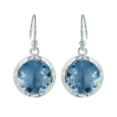 Sterling Silver Earring 13mm Blue Topaz Gem Stone Round Chess Cut Hammerre