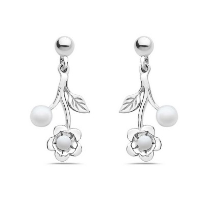 Sterling Silver Earring 4+2.5mm White Fresh Water Pearl with Flower+Line Texture Leaf
