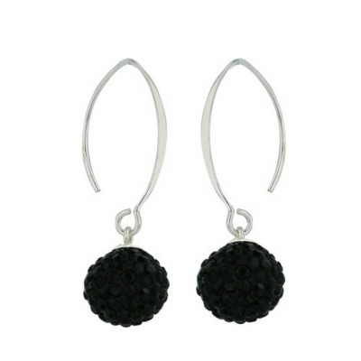 Sterling Silver Earring 10mm Jet Black Crystal with Almond Hook