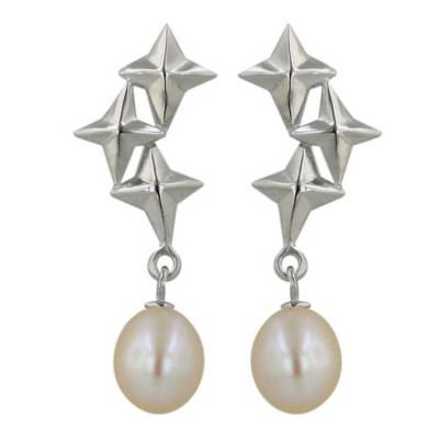 Sterling Silver Earring 3 Star Top+White Fresh Water Pearl Drop