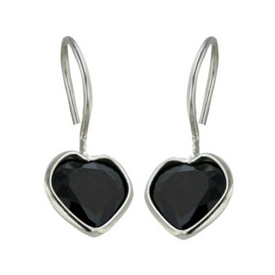 Sterling Silver Earring 8mm Black Cubic Zirconia Heart with Fish Hook--Rhodium Plating Pla