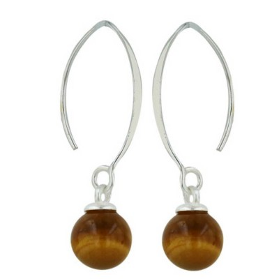 Sterling Silver Earring 8mm Tiger Eye Ball with Almond Hook--Rhodium Plating/Nickle Free-