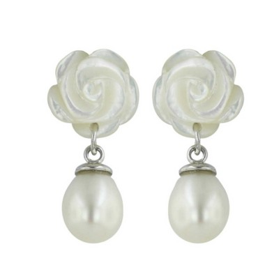 Sterling Silver Earring White Mother of Pearl Roses Top with 8mm White Fresh Water Pearl