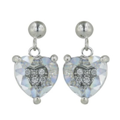 Sterling Silver Earring 10X10M Clear Cubic Zirconia Heart--Rhodium Plating/Nickle Free--
